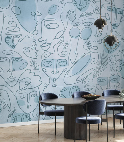 MURAL - LINE FACES LIGHT BLUE (PER SQM)