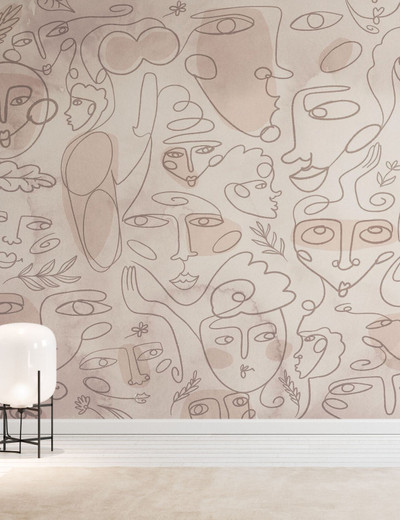 MURAL - LINE FACES BEIGE (PER SQM)
