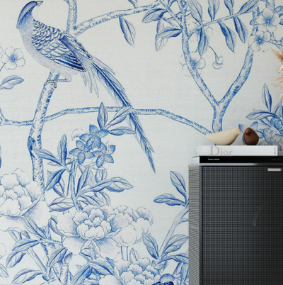 MURAL - BIRD PARTY BLUE PORCELAIN (PER SQM)