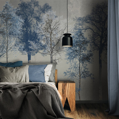 MURAL - HIDDEN BIRD BLUE GREY (PER SQM)