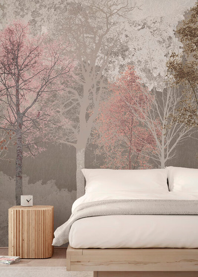 MURAL - HIDDEN BIRD PINK BEIGE (PER SQM)