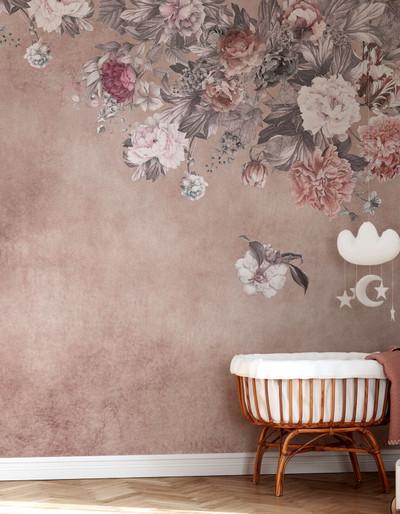MURAL - VINTAGE FLOWER WALL PINK (PER SQM)