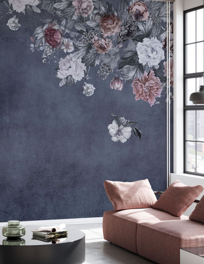 MURAL - VINTAGE FLOWER WALL MIDNIGHT (PER SQM)
