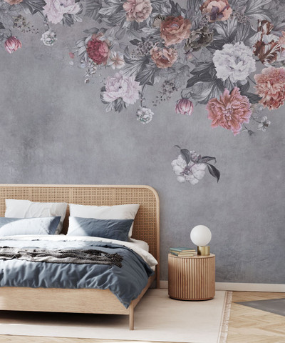MURAL - VINTAGE FLOWER WALL GREY (PER SQM)