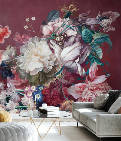 MURAL - BURGUNDY FLOWERS (PER SQM)