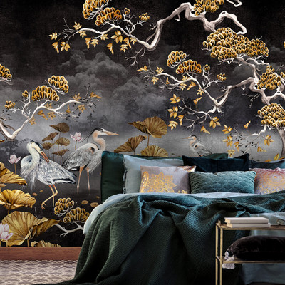 MURAL ORIENT - BLACK & GOLD (PER SQM)