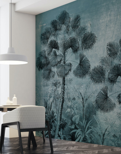 MURAL - URBAN JUNGLE BLUE (PER SQM)