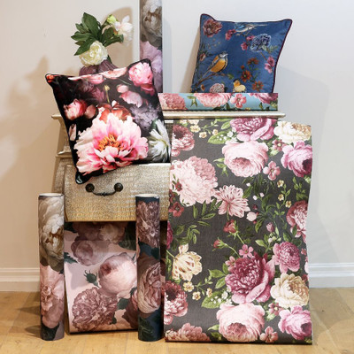 Tapestry Floral - Charcoal / Pink
