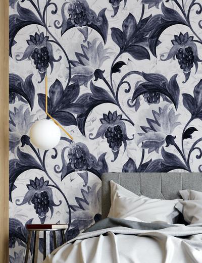 Mural - Vintage Flower White/ Navy (Per Sqm)