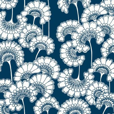 Japanese Floral - True Blue