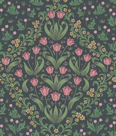 Tudor Garden - Plum & Olive Green On Charcoal