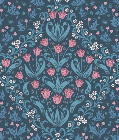 Tudor Garden - Fuchsia & Cerulean Blue On Midnight