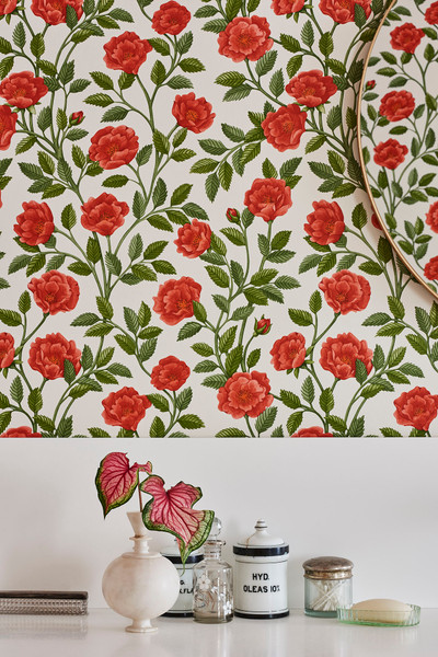 HAMPTON ROSES - ROUGE & SPRING GREEN ON PARCHMENT