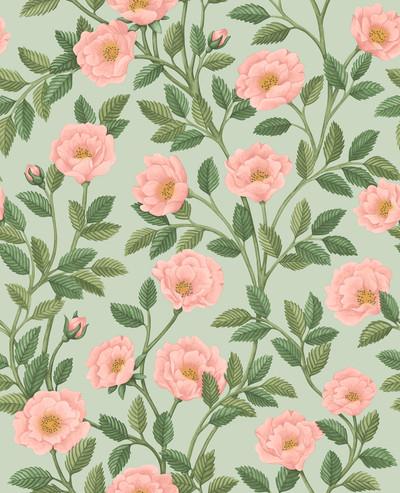 Hampton Roses - Rose & Leaf Green On Duck Egg