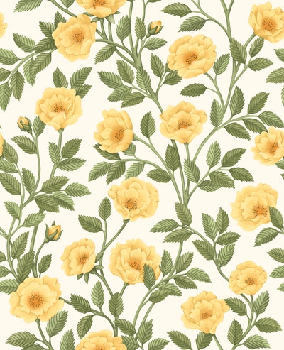 Hampton Roses - Marigold & Olive Green On White