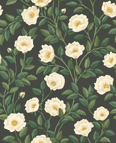 Hampton Roses - Cream & Forest Green On Charcoal