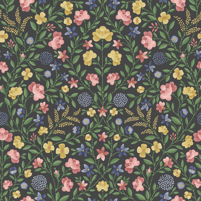 Court Embroidery - Rose / Charcoal