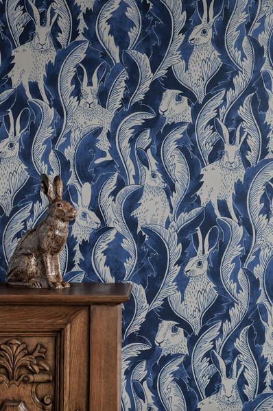 Hares In Hiding - Denim Blue