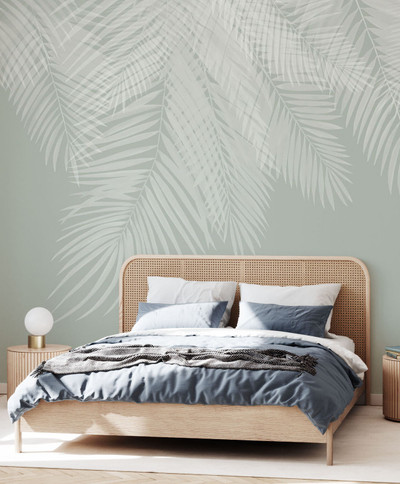 MURAL - HANGING PALM LEAVES MINT (PER SQM)