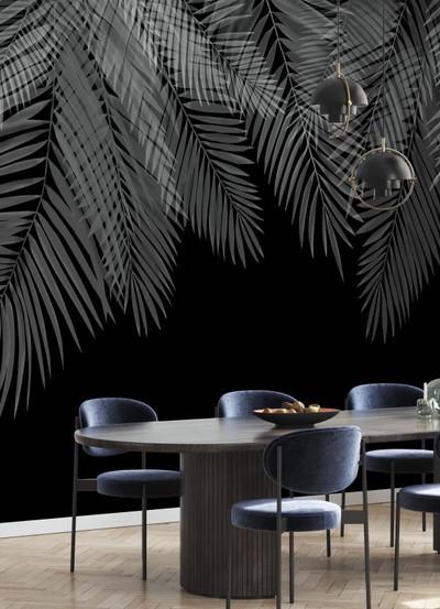 Mural - Hanging Palm Leaves Black (Per Sqm)