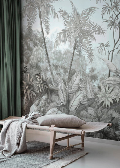 Mural - Tangled Jungle Blue Mono (Per Sqm)