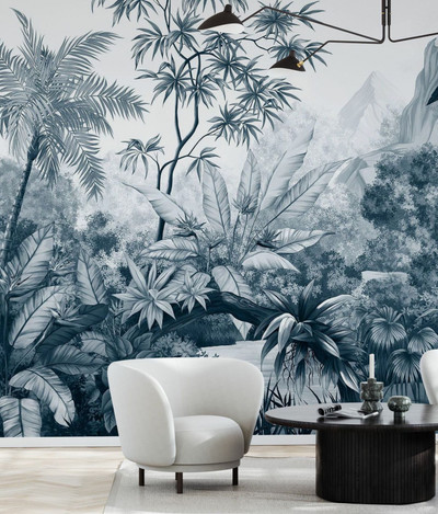 Mural - Tangled Jungle Dark Blue (Per Sqm)