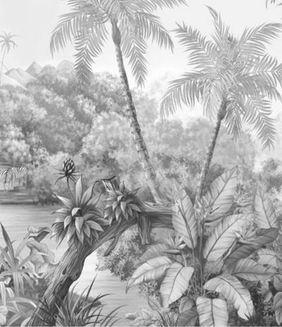 Mural - Tangled Jungle Black White (Per Sqm)