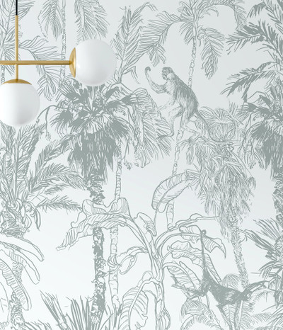 Mural - Monkey Toile Muted Sage (Per Sqm)