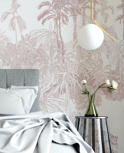 Mural - Leopard Toile Dusty Pink (Per Sqm)
