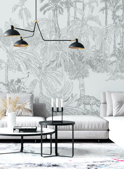 Mural - Leopard Toile Pale Grey (Per Sqm)