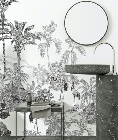 Mural - Crane Toile Monochrome(Per Sqm)