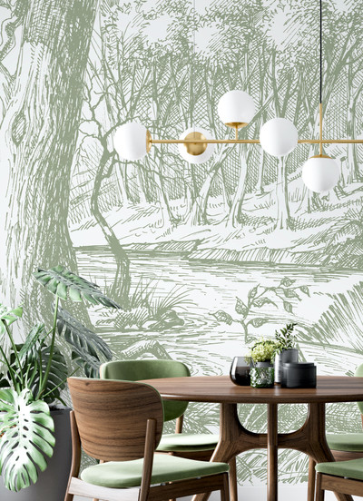 Mural - Meadow Olive Green (Per Sqm)