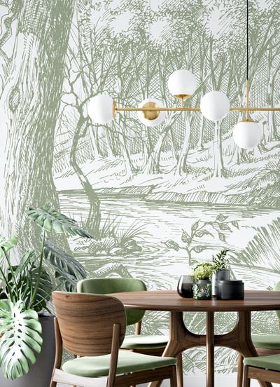 Mural - Meadow Olive Green(Per Sqm)