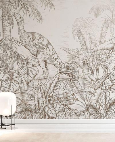 Mural - Dinosaur World Sepia (Per Sqm)