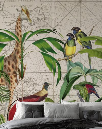 Mural - Palm Tree Map (4m X 2.7m)