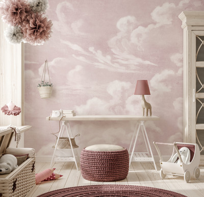Mural - Clouds Blush Pink (Per Sqm)