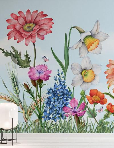 Mural - Summer Field Blue (Per Sqm)