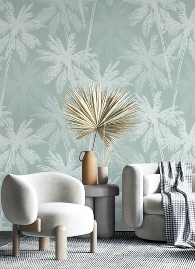Mural - Palm Silhouette Mint(Per Sqm)