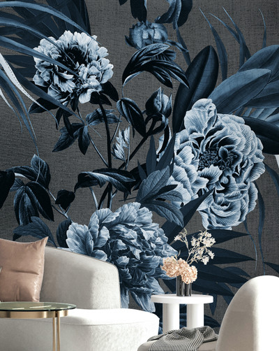 Mural - Peony Summer Indigo(Per Sqm)