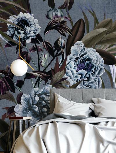 Mural - Peony Summer Blue / Sepia(Per Sqm)