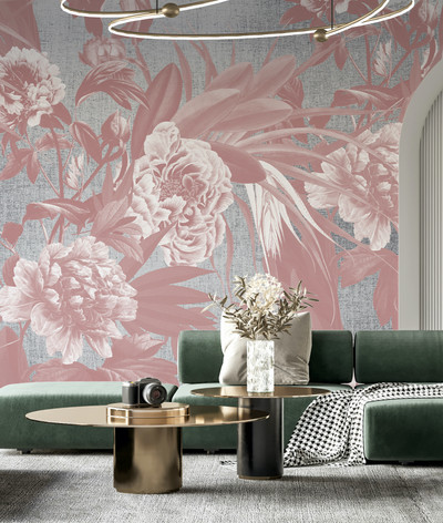 Mural - Peony Summer Dusty Pink (Per Sqm)