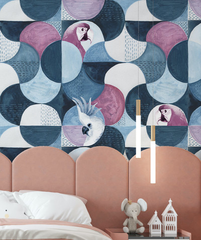 Mural - Hyde Birds Marine Blue (Per Sqm)