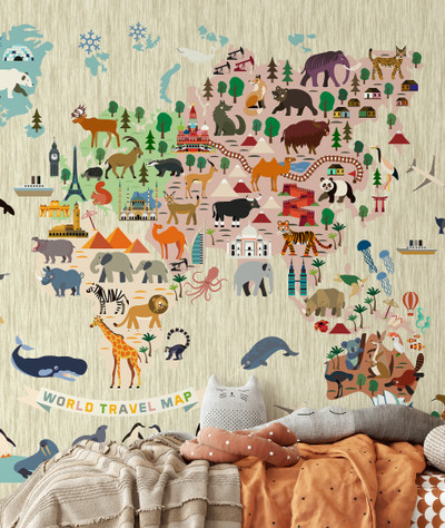 Mural - Animal World Map Beige (Per Sqm)