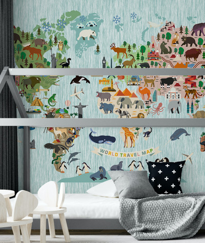 Mural - Animal World Map Aqua (Per Sqm)