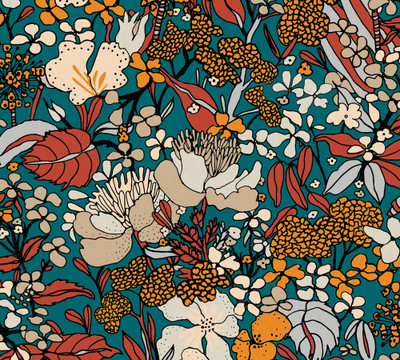 Flora Impression - Teal / Orange
