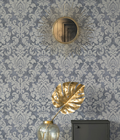 Perry Damask - Steel Blue