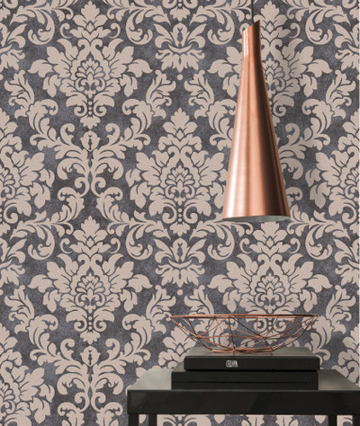 Perry Damask - Charcoal