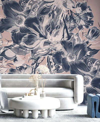 Mural - Devon Blush / Navy (Per Sqm)