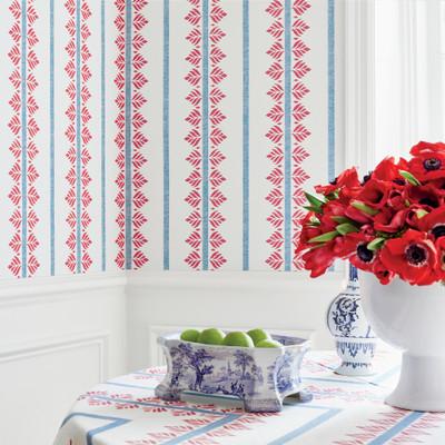 Fern Stripe - Red / blue