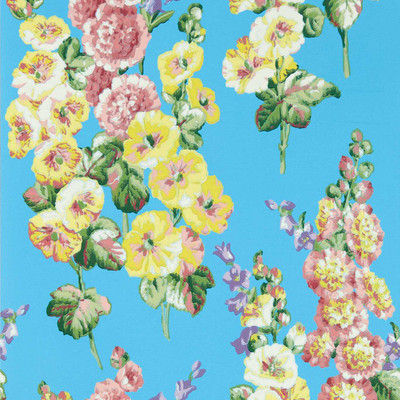 Hollyhocks - Fire Pink / Bright Blue